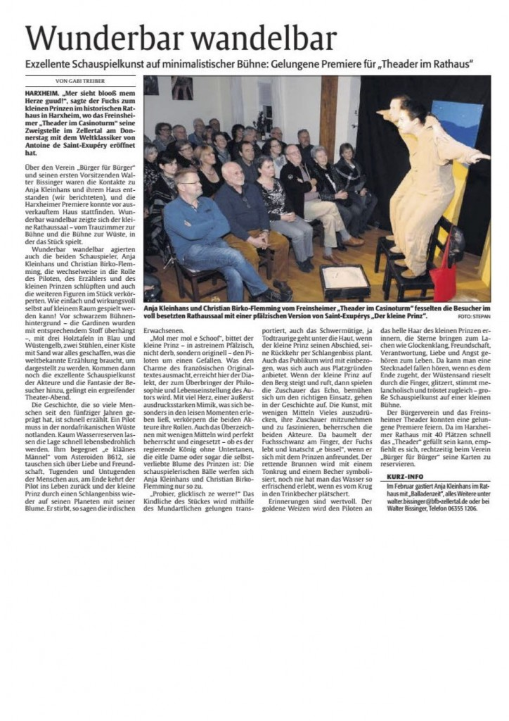 20160130 Rheinpfalz Theader