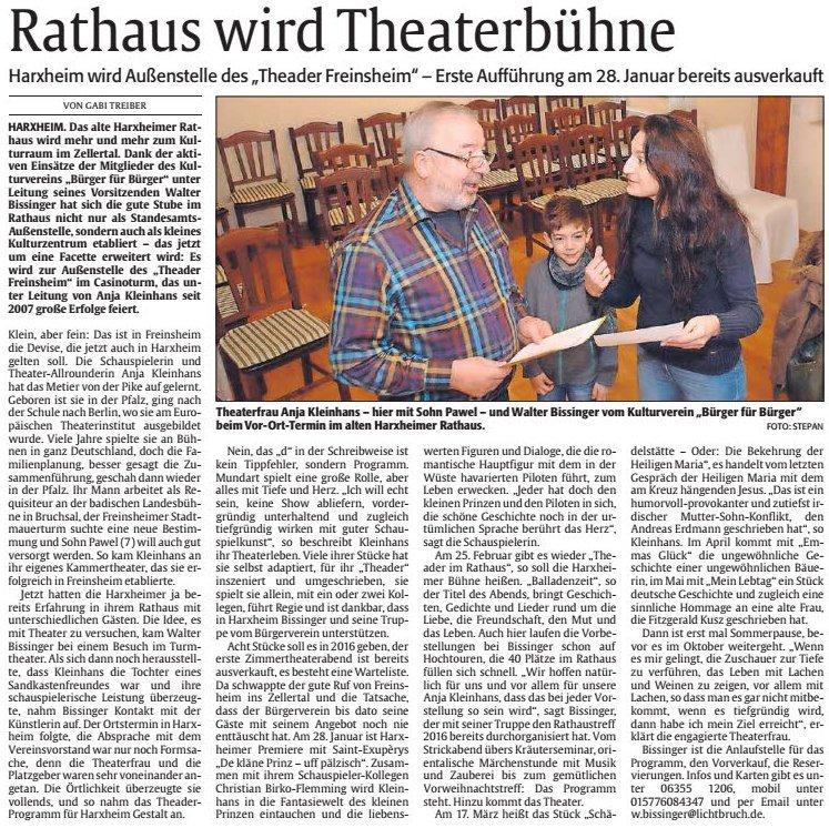 20160114 Rheinpfalz Theader